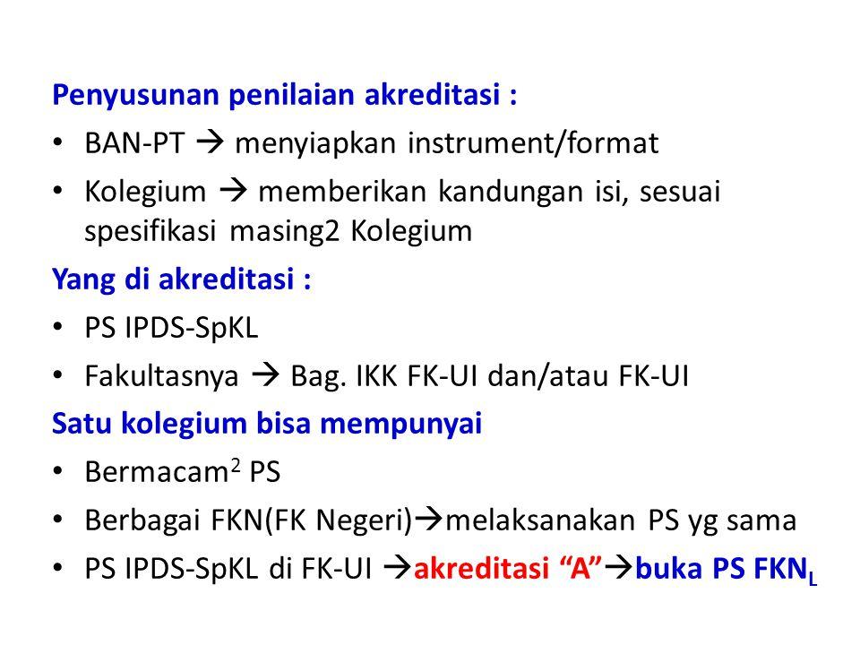 Penyusunan penilaian akreditasi : BAN-PT  menyiapkan instrument/format Kolegium  memberikan kandungan isi, sesuai spesifikasi masing2 Kolegium Yang