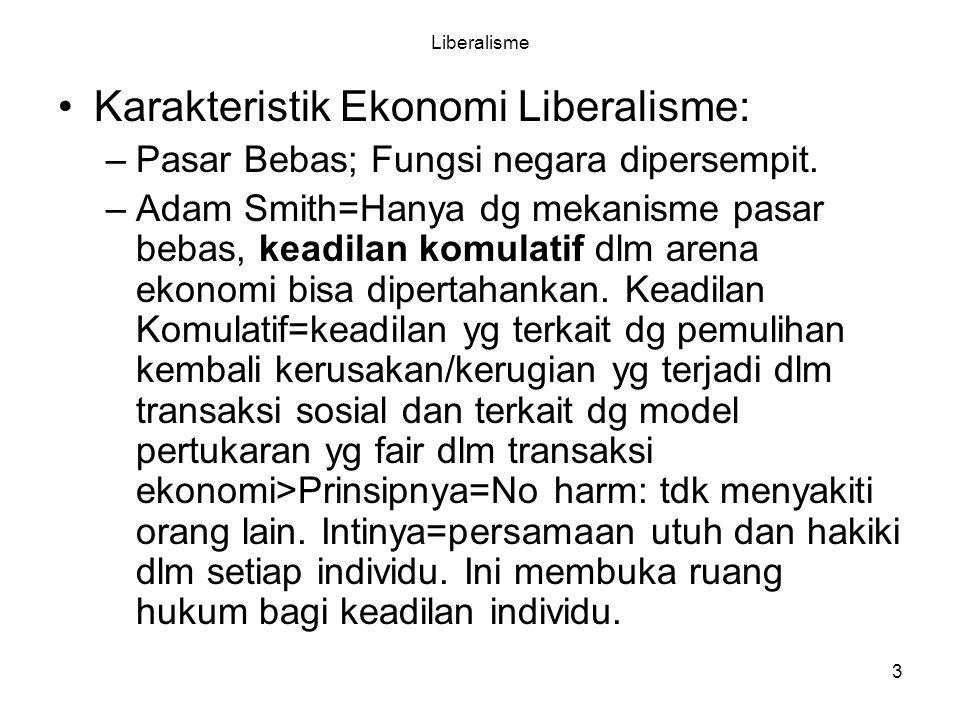 3 Liberalisme Karakteristik Ekonomi Liberalisme: –Pasar Bebas; Fungsi negara dipersempit.