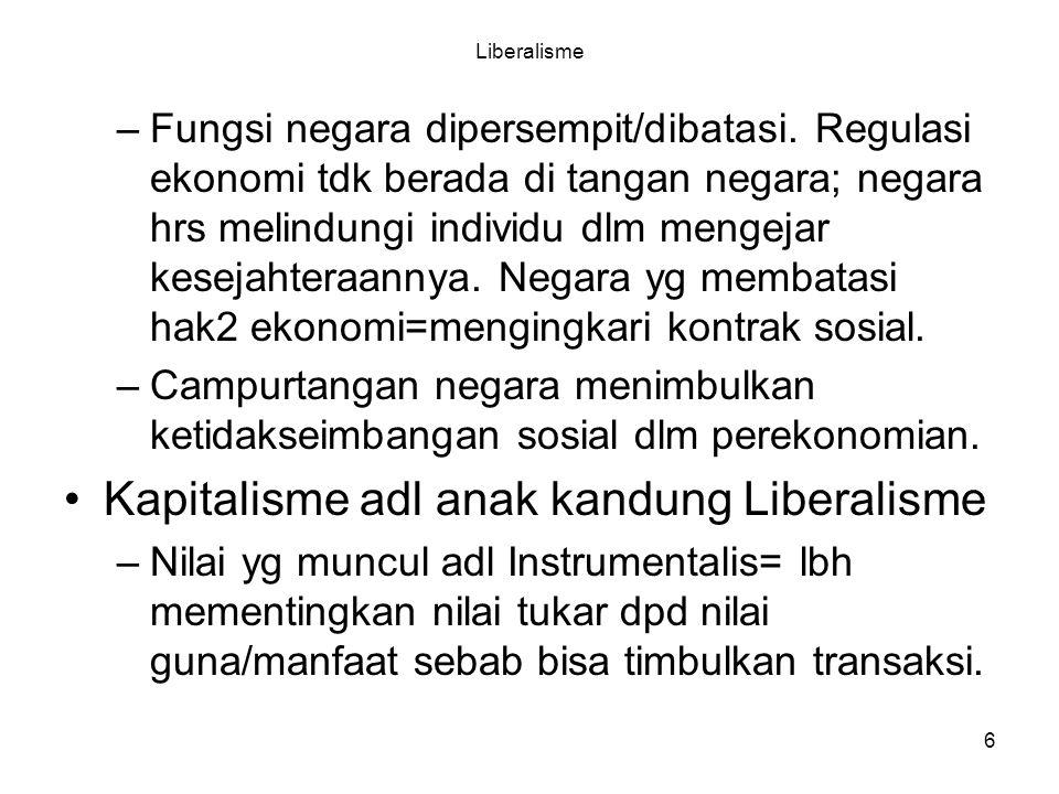 6 Liberalisme –Fungsi negara dipersempit/dibatasi. Regulasi ekonomi tdk berada di tangan negara; negara hrs melindungi individu dlm mengejar kesejahte