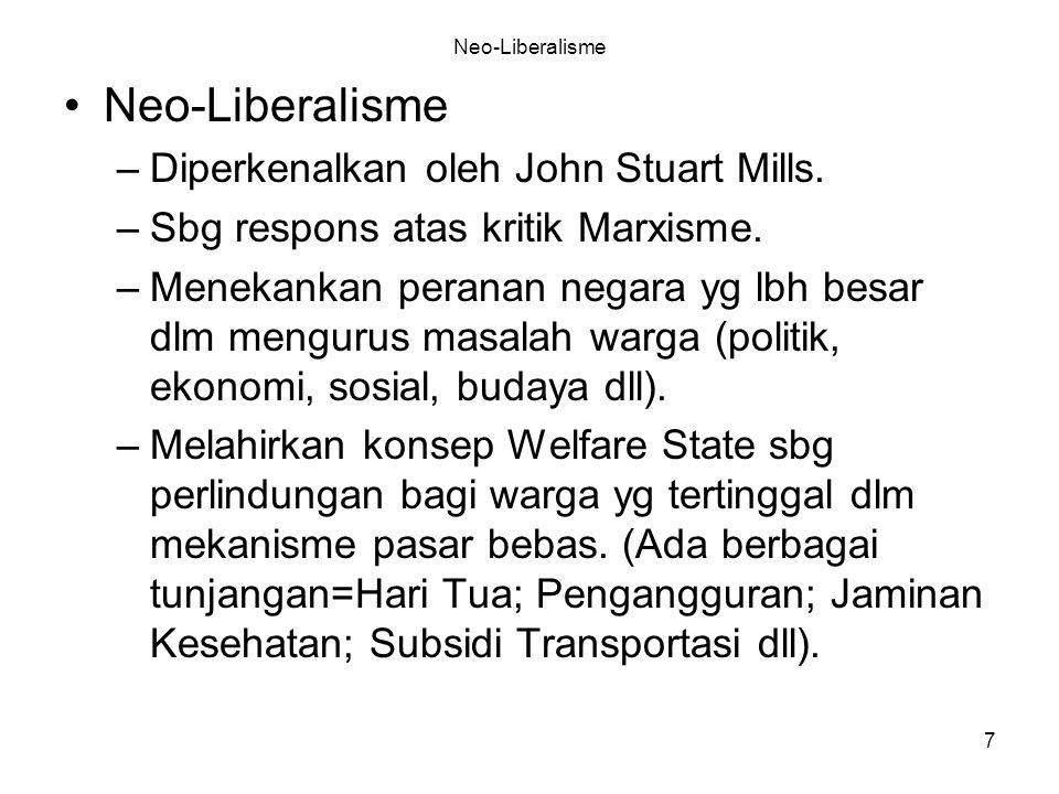 7 Neo-Liberalisme –Diperkenalkan oleh John Stuart Mills. –Sbg respons atas kritik Marxisme. –Menekankan peranan negara yg lbh besar dlm mengurus masal