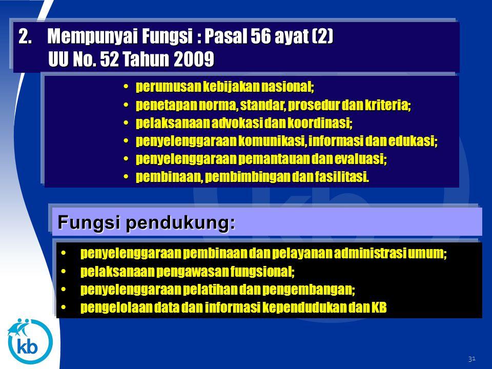 31 2.Mempunyai Fungsi : Pasal 56 ayat (2) UU No. 52 Tahun 2009 UU No. 52 Tahun 2009 Fungsi pendukung: perumusan kebijakan nasional;perumusan kebijakan
