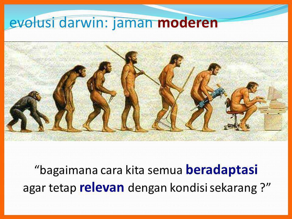 evolusi darwin: jaman moderen bagaimana cara kita semua beradaptasi agar tetap relevan dengan kondisi sekarang ?