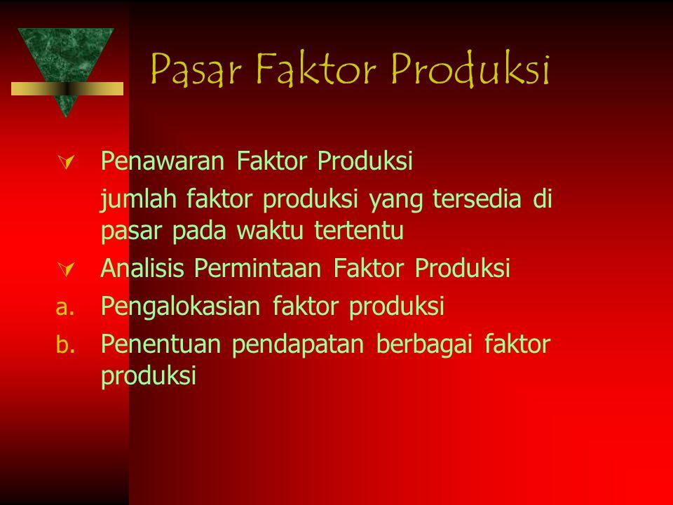  Penawaran Faktor Produksi jumlah faktor produksi yang tersedia di pasar pada waktu tertentu  Analisis Permintaan Faktor Produksi a. Pengalokasian f