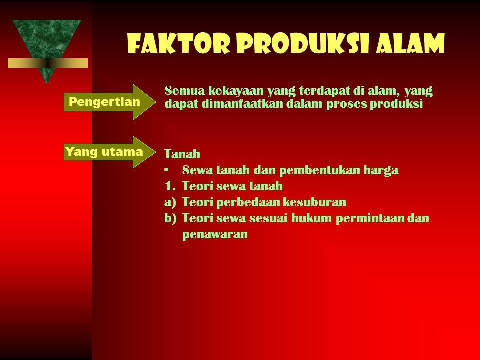 Faktor produksi alam Semua kekayaan yang terdapat di alam, yang dapat dimanfaatkan dalam proses produksi Pengertian Tanah Sewa tanah dan pembentukan h