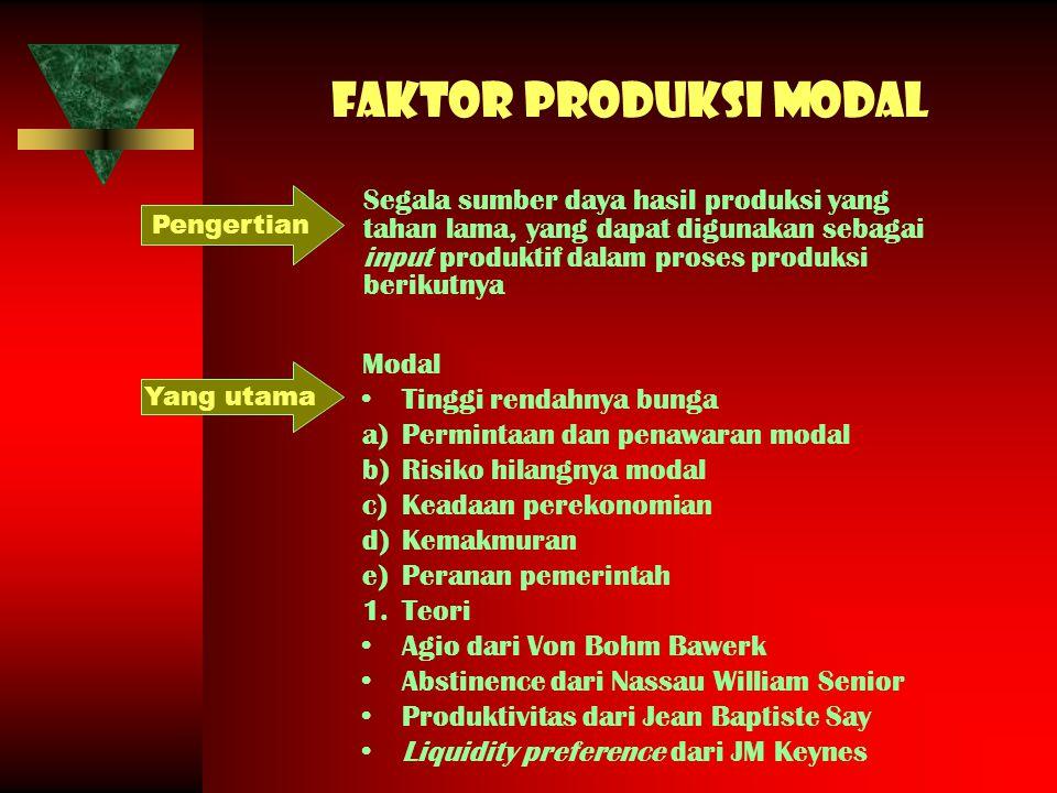Faktor produksi modal Segala sumber daya hasil produksi yang tahan lama, yang dapat digunakan sebagai input produktif dalam proses produksi berikutnya