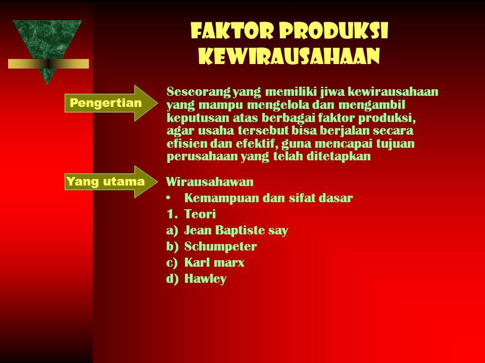 Faktor produksi kewirausahaan Seseorang yang memiliki jiwa kewirausahaan yang mampu mengelola dan mengambil keputusan atas berbagai faktor produksi, a