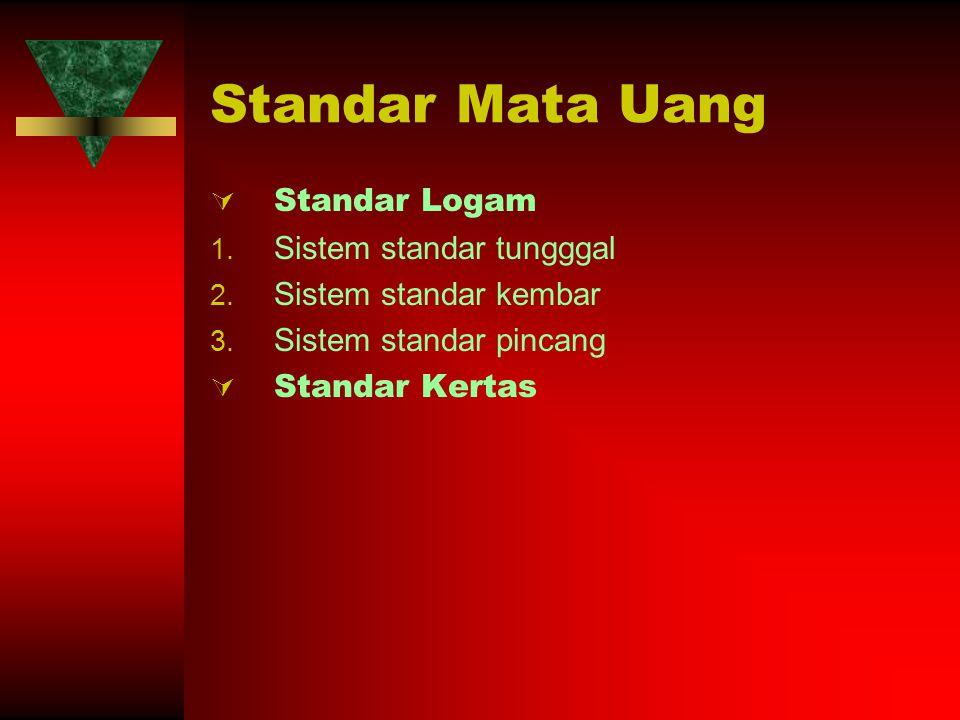 Standar Mata Uang  Standar Logam 1. Sistem standar tungggal 2. Sistem standar kembar 3. Sistem standar pincang  Standar Kertas