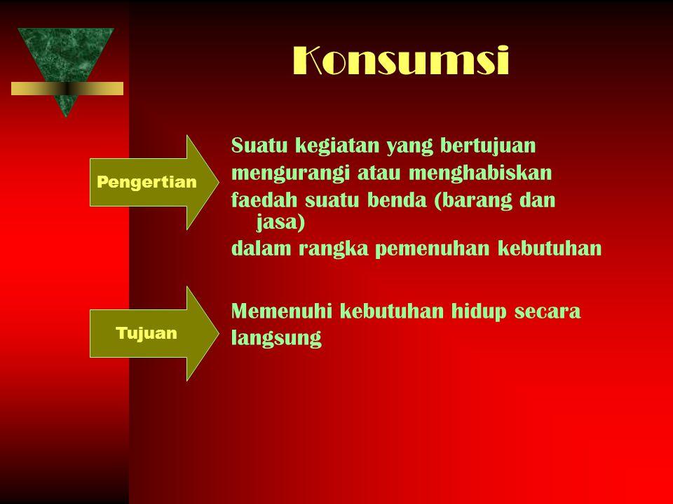 Konsumsi Suatu kegiatan yang bertujuan mengurangi atau menghabiskan faedah suatu benda (barang dan jasa) dalam rangka pemenuhan kebutuhan Pengertian M