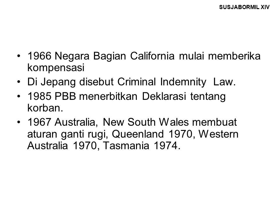 SUSJABORMIL XIV 1966 Negara Bagian California mulai memberika kompensasi Di Jepang disebut Criminal Indemnity Law. 1985 PBB menerbitkan Deklarasi tent