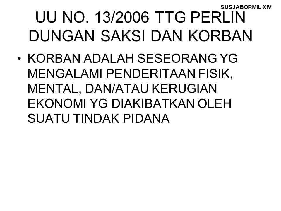 SUSJABORMIL XIV UU NO. 13/2006 TTG PERLIN DUNGAN SAKSI DAN KORBAN KORBAN ADALAH SESEORANG YG MENGALAMI PENDERITAAN FISIK, MENTAL, DAN/ATAU KERUGIAN EK