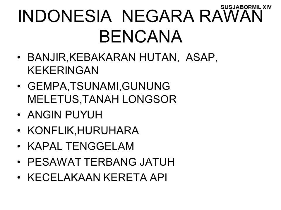SUSJABORMIL XIV INDONESIA NEGARA RAWAN BENCANA BANJIR,KEBAKARAN HUTAN, ASAP, KEKERINGAN GEMPA,TSUNAMI,GUNUNG MELETUS,TANAH LONGSOR ANGIN PUYUH KONFLIK
