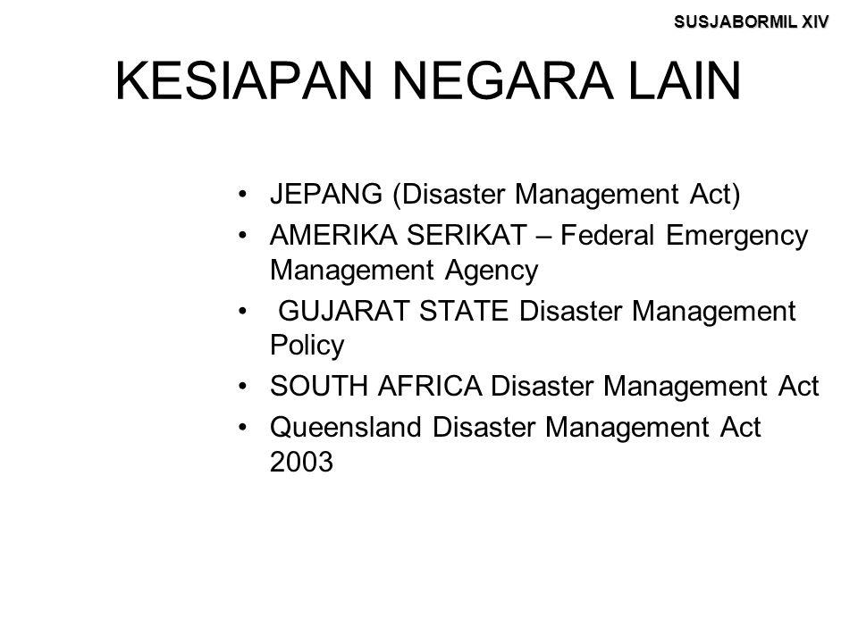 SUSJABORMIL XIV KESIAPAN NEGARA LAIN JEPANG (Disaster Management Act) AMERIKA SERIKAT – Federal Emergency Management Agency GUJARAT STATE Disaster Man