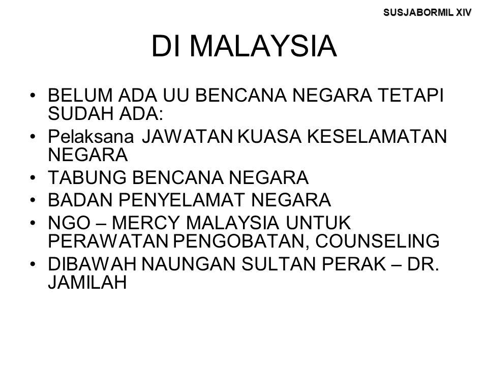 SUSJABORMIL XIV DI MALAYSIA BELUM ADA UU BENCANA NEGARA TETAPI SUDAH ADA: Pelaksana JAWATAN KUASA KESELAMATAN NEGARA TABUNG BENCANA NEGARA BADAN PENYE