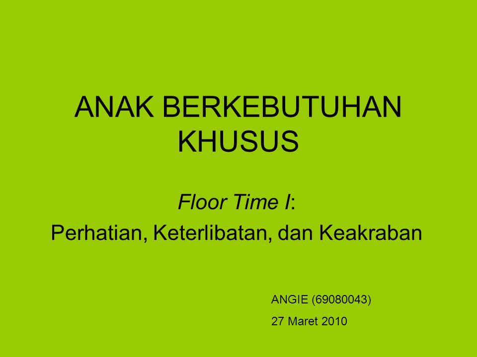 ANAK BERKEBUTUHAN KHUSUS Floor Time I: Perhatian, Keterlibatan, dan Keakraban ANGIE (69080043) 27 Maret 2010