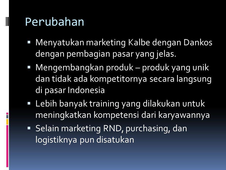 Perubahan  Menyatukan marketing Kalbe dengan Dankos dengan pembagian pasar yang jelas.