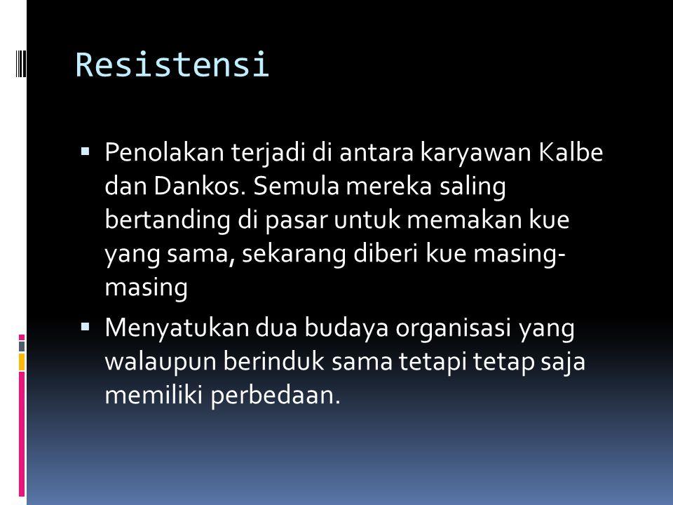 Resistensi  Penolakan terjadi di antara karyawan Kalbe dan Dankos.