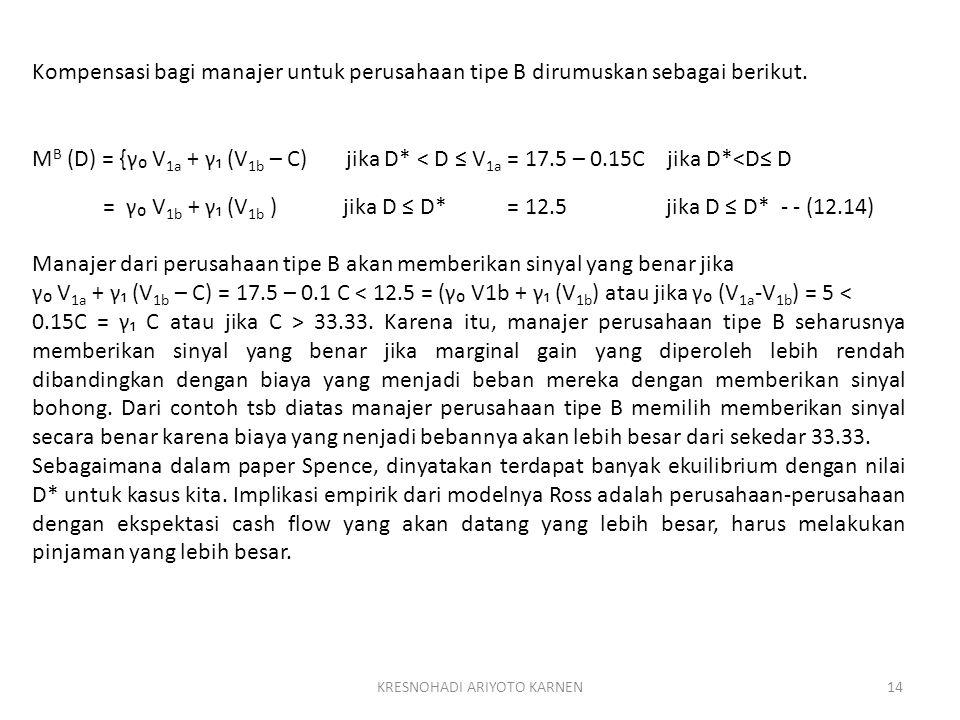 KRESNOHADI ARIYOTO KARNEN14 Kompensasi bagi manajer untuk perusahaan tipe B dirumuskan sebagai berikut. M B (D) = {γ₀ V 1a + γ₁ (V 1b – C) jika D* < D