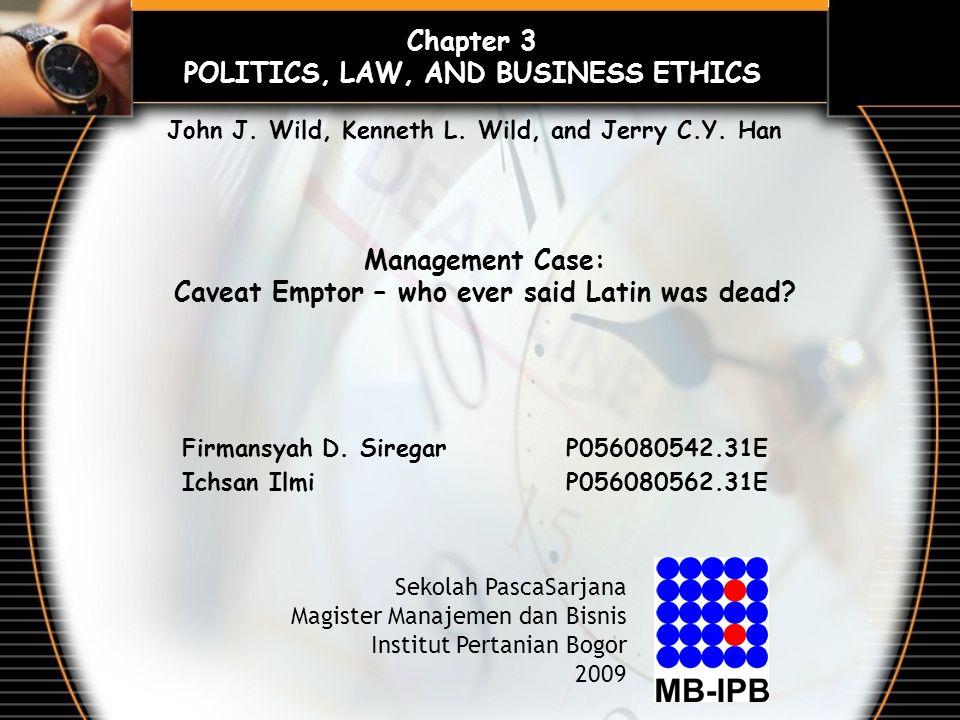 Firmansyah D. SiregarP056080542.31E Ichsan IlmiP056080562.31E Sekolah PascaSarjana Magister Manajemen dan Bisnis Institut Pertanian Bogor 2009 Chapter