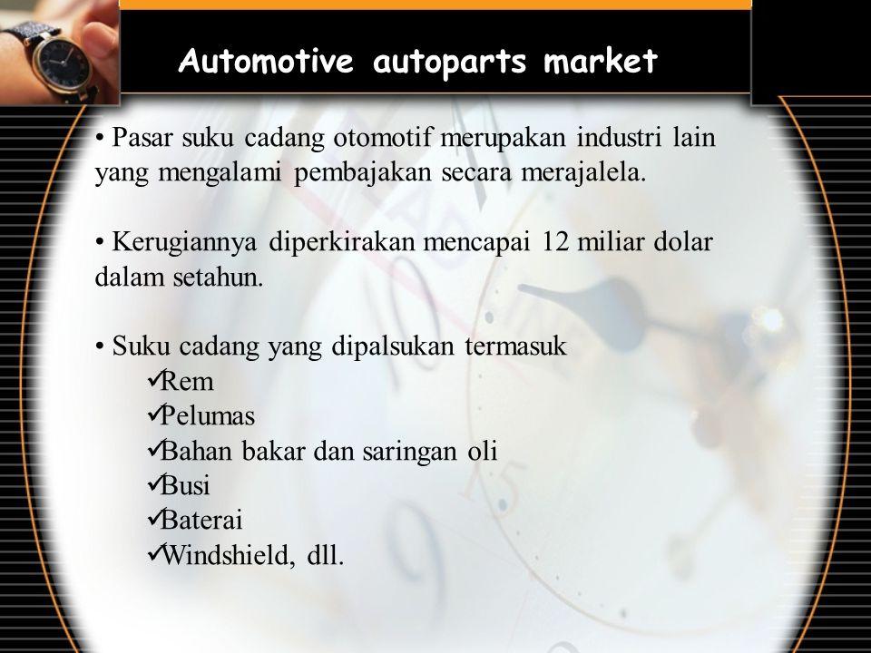 Automotive autoparts market Pasar suku cadang otomotif merupakan industri lain yang mengalami pembajakan secara merajalela. Kerugiannya diperkirakan m