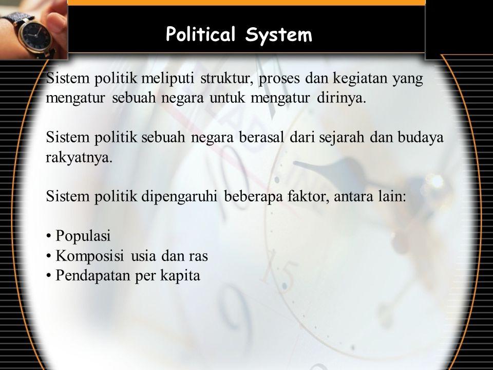 Political System Sistem politik meliputi struktur, proses dan kegiatan yang mengatur sebuah negara untuk mengatur dirinya. Sistem politik sebuah negar