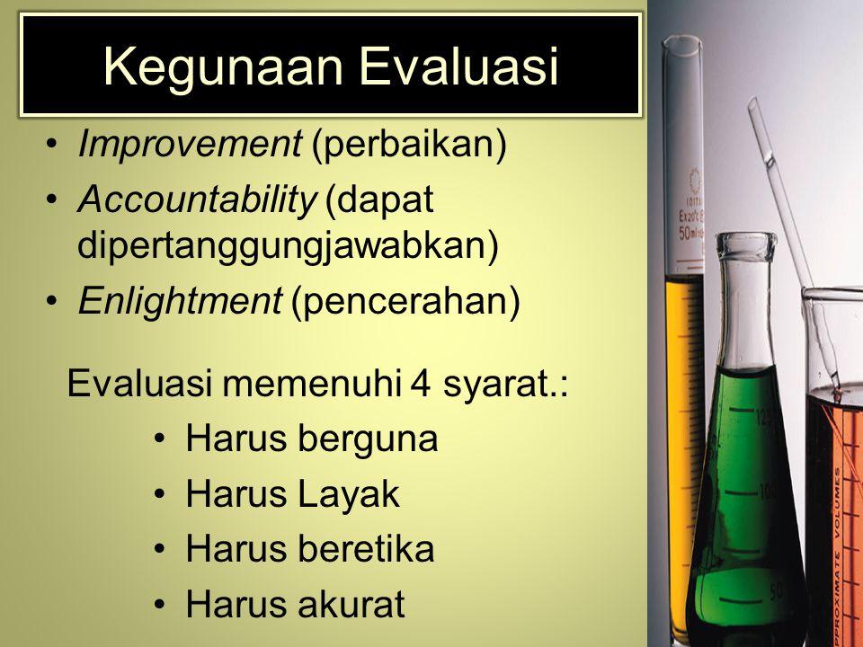 Kegunaan Evaluasi Improvement (perbaikan) Accountability (dapat dipertanggungjawabkan) Enlightment (pencerahan) Evaluasi memenuhi 4 syarat.: Harus berguna Harus Layak Harus beretika Harus akurat