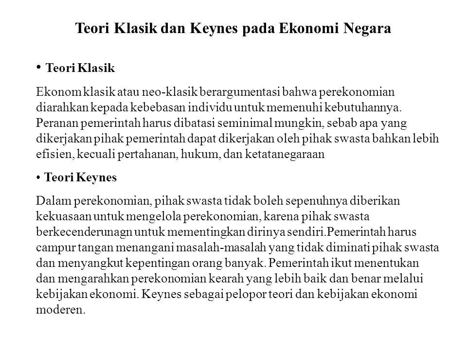 Teori Klasik dan Keynes pada Ekonomi Negara Teori Klasik Ekonom klasik atau neo-klasik berargumentasi bahwa perekonomian diarahkan kepada kebebasan in