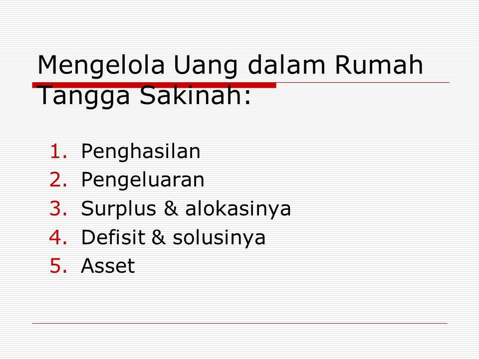 Mengelola Uang dalam Rumah Tangga Sakinah: 1.Penghasilan 2.Pengeluaran 3.Surplus & alokasinya 4.Defisit & solusinya 5.Asset