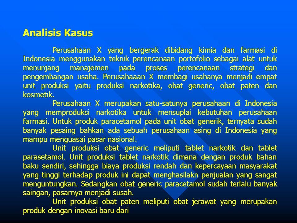 Analisis Kasus Perusahaan X yang bergerak dibidang kimia dan farmasi di Indonesia menggunakan teknik perencanaan portofolio sebagai alat untuk menunjang manajemen pada proses perencanaan strategi dan pengembangan usaha.