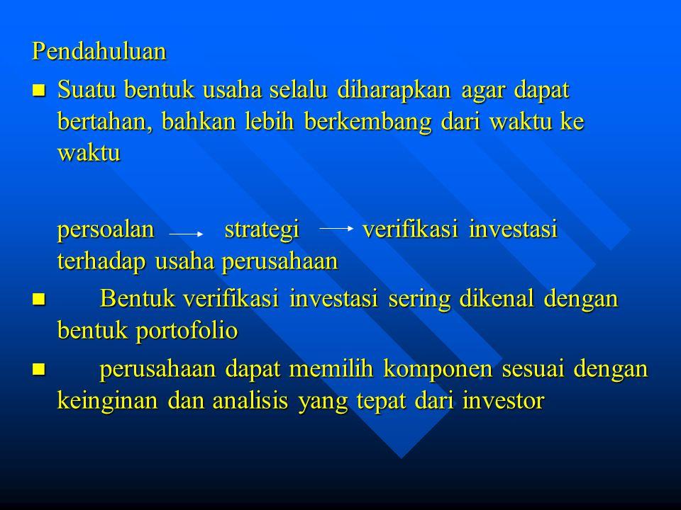Perubahan yang mungkin dalam portofolio sepanjang waktu : a.