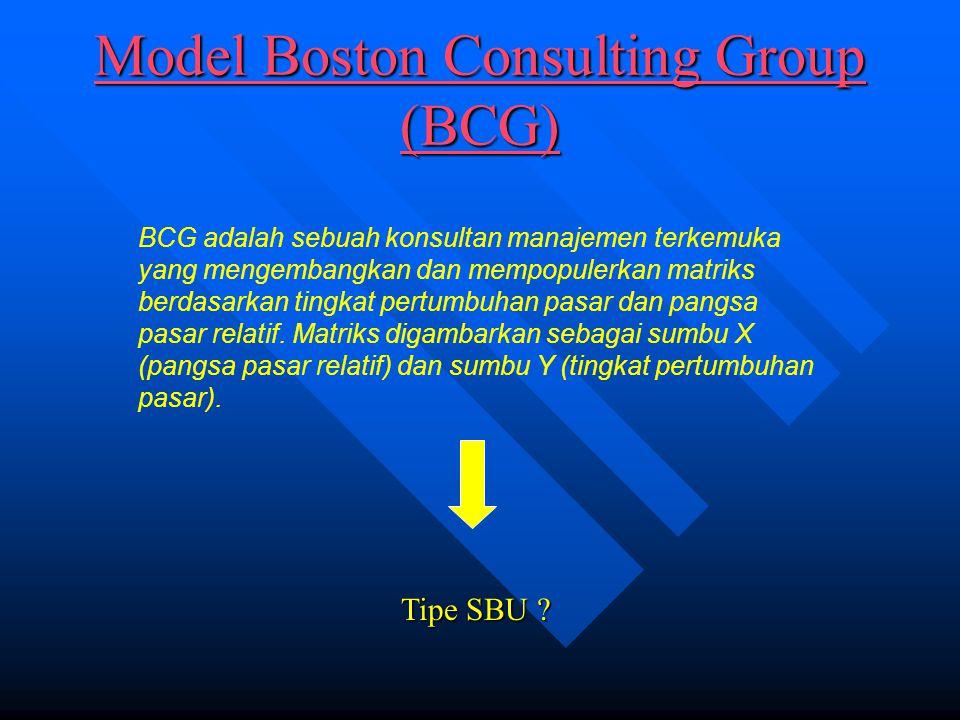 Model Boston Consulting Group (BCG) Model Boston Consulting Group (BCG) BCG adalah sebuah konsultan manajemen terkemuka yang mengembangkan dan mempopulerkan matriks berdasarkan tingkat pertumbuhan pasar dan pangsa pasar relatif.