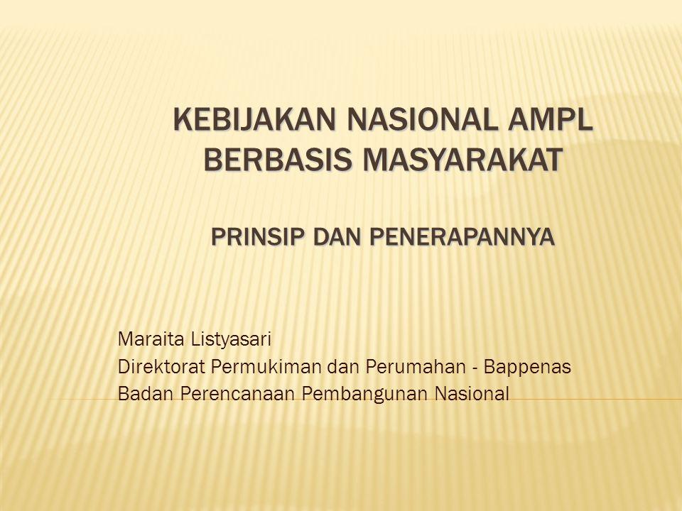 KEBIJAKAN NASIONAL AMPL BERBASIS MASYARAKAT PRINSIP DAN PENERAPANNYA Maraita Listyasari Direktorat Permukiman dan Perumahan - Bappenas Badan Perencana