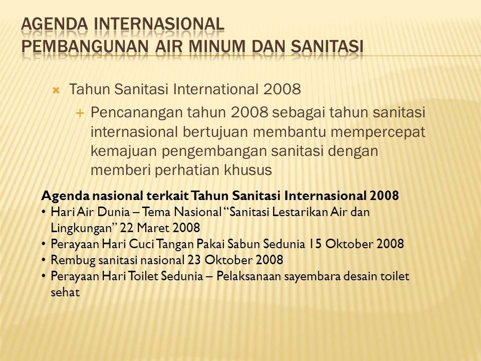  Tahun Sanitasi International 2008  Pencanangan tahun 2008 sebagai tahun sanitasi internasional bertujuan membantu mempercepat kemajuan pengembangan