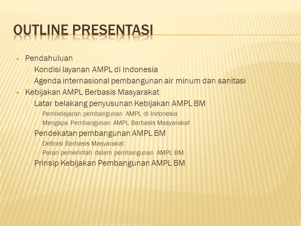 Pendahuluan ◦ Kondisi layanan AMPL di Indonesia ◦ Agenda internasional pembangunan air minum dan sanitasi Kebijakan AMPL Berbasis Masyarakat ◦ Latar belakang penyusunan Kebijakan AMPL BM ◦ Pembelajaran pembangunan AMPL di Indonesia ◦ Mengapa Pembangunan AMPL Berbasis Masyarakat ◦ Pendekatan pembangunan AMPL BM ◦ Definisi Berbasis Masyarakat ◦ Peran pemerintah dalam pembangunan AMPL BM ◦ Prinsip Kebijakan Pembangunan AMPL BM