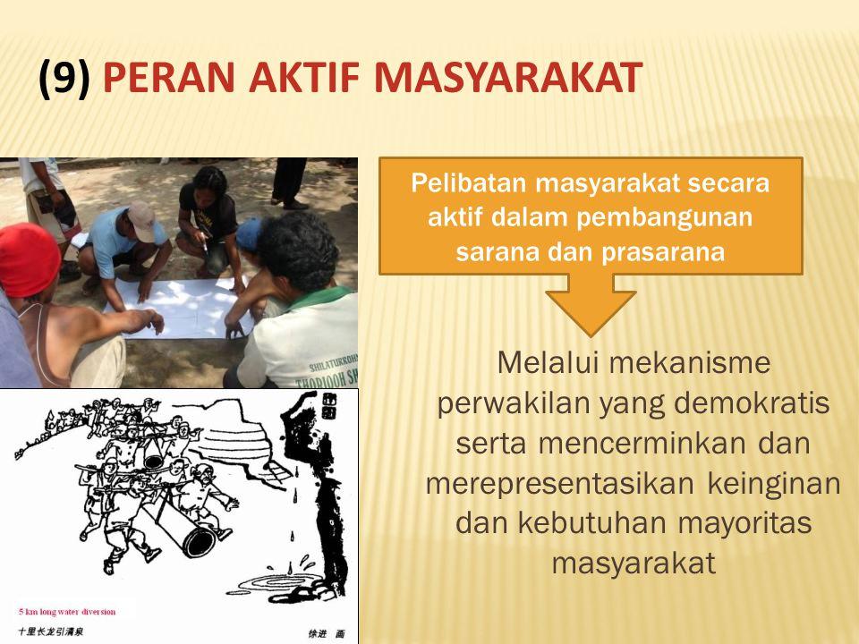 Melalui mekanisme perwakilan yang demokratis serta mencerminkan dan merepresentasikan keinginan dan kebutuhan mayoritas masyarakat Pelibatan masyarakat secara aktif dalam pembangunan sarana dan prasarana (9) PERAN AKTIF MASYARAKAT