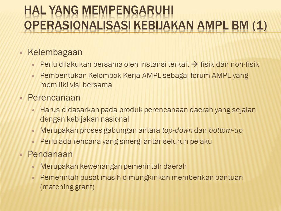 Kelembagaan Perlu dilakukan bersama oleh instansi terkait  fisik dan non-fisik Pembentukan Kelompok Kerja AMPL sebagai forum AMPL yang memiliki visi