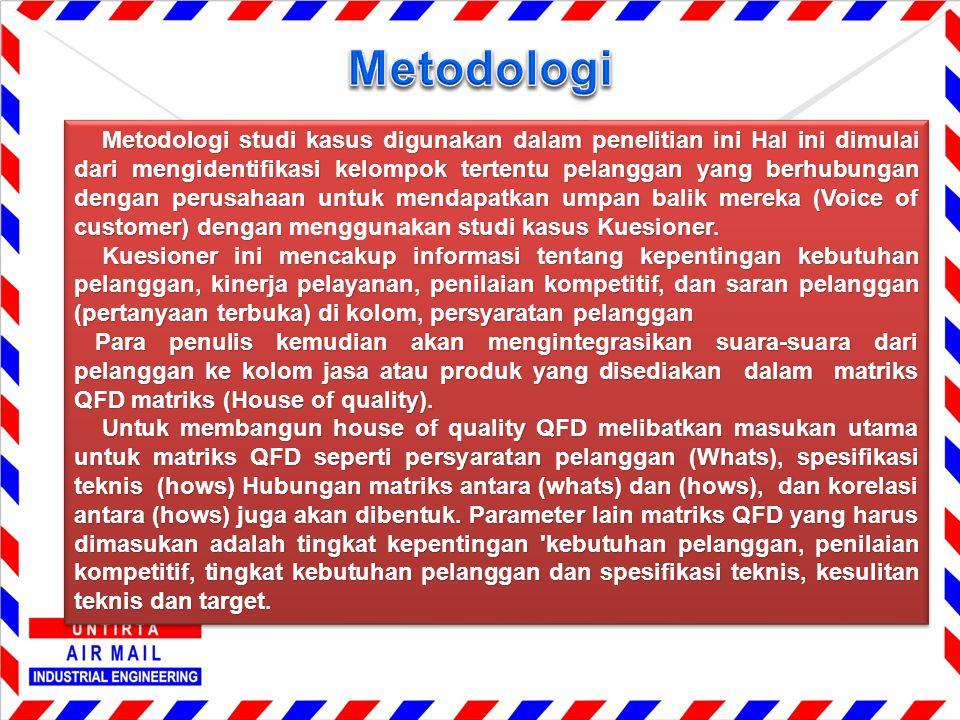 Metodologi studi kasus digunakan dalam penelitian ini Hal ini dimulai dari mengidentifikasi kelompok tertentu pelanggan yang berhubungan dengan perusa