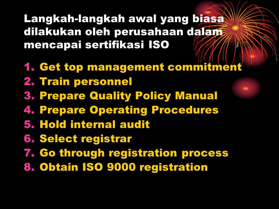 Langkah-langkah awal yang biasa dilakukan oleh perusahaan dalam mencapai sertifikasi ISO 1.Get top management commitment 2.Train personnel 3.Prepare Q