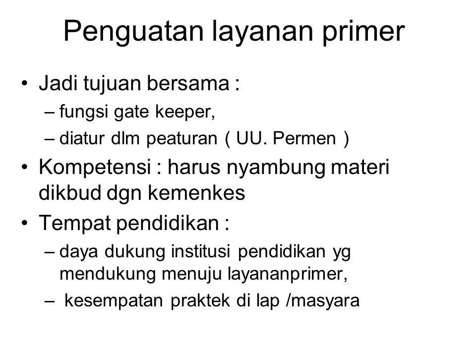 Penguatan layanan primer Jadi tujuan bersama : –fungsi gate keeper, –diatur dlm peaturan ( UU. Permen ) Kompetensi : harus nyambung materi dikbud dgn