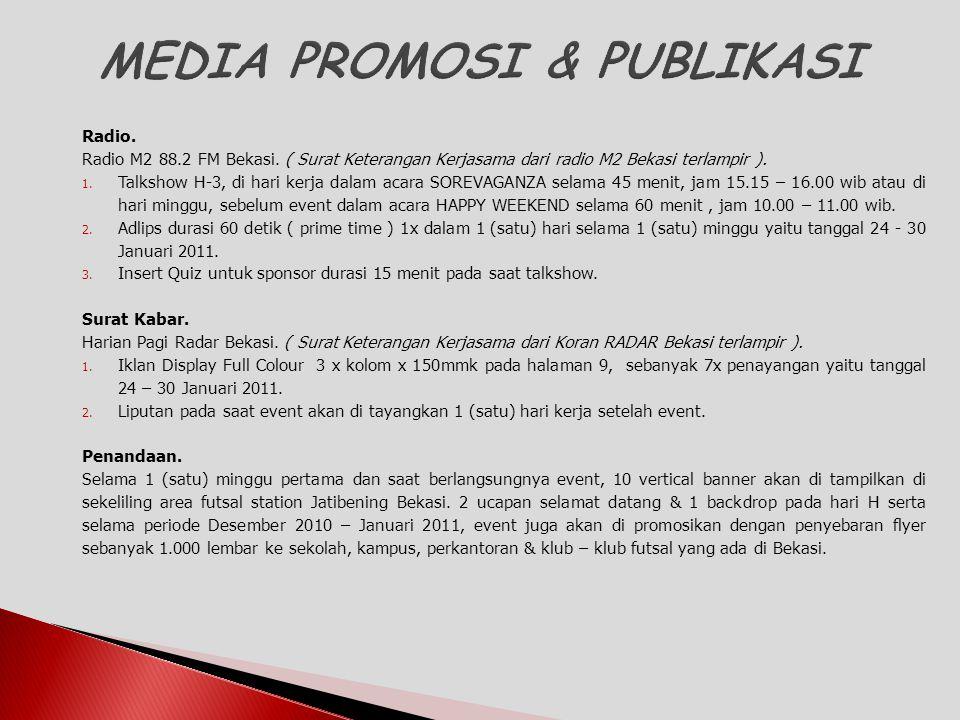 Radio. Radio M2 88.2 FM Bekasi. ( Surat Keterangan Kerjasama dari radio M2 Bekasi terlampir ). 1. Talkshow H-3, di hari kerja dalam acara SOREVAGANZA