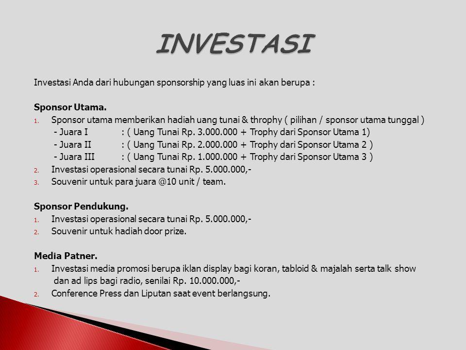 Investasi Anda dari hubungan sponsorship yang luas ini akan berupa : Sponsor Utama. 1. Sponsor utama memberikan hadiah uang tunai & throphy ( pilihan