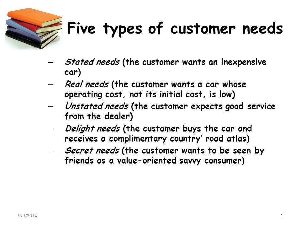 9/9/20141 Five types of customer needs – Stated needs (the customer wants an inexpensive car) – Real needs (the customer wants a car whose operating c