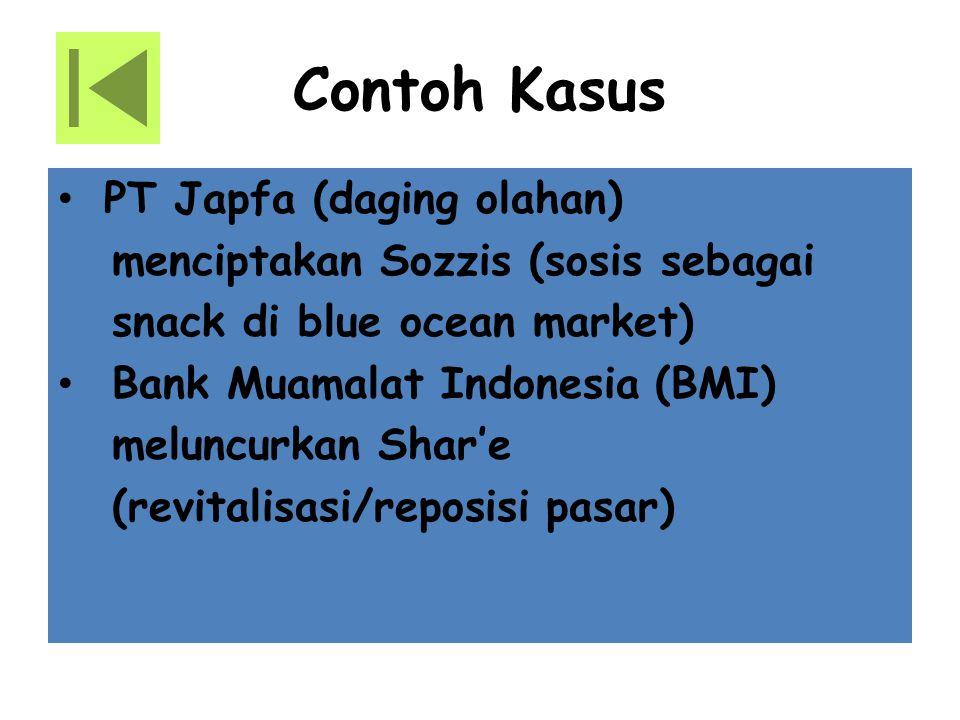 Contoh Kasus PT Japfa (daging olahan) menciptakan Sozzis (sosis sebagai snack di blue ocean market) Bank Muamalat Indonesia (BMI) meluncurkan Shar'e (revitalisasi/reposisi pasar)