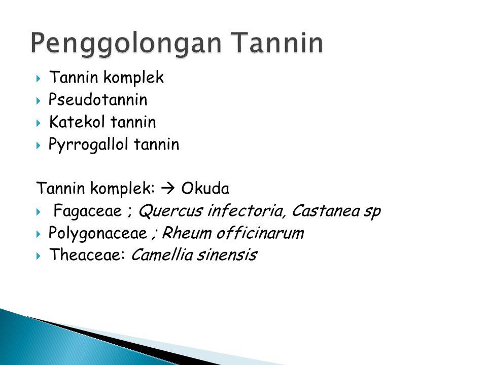 Tannin komplek  Pseudotannin  Katekol tannin  Pyrrogallol tannin Tannin komplek:  Okuda  Fagaceae ; Quercus infectoria, Castanea sp  Polygonac
