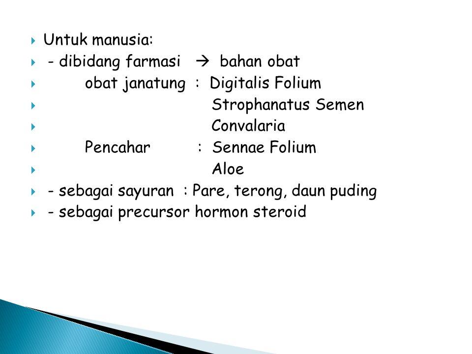  Untuk manusia:  - dibidang farmasi  bahan obat  obat janatung : Digitalis Folium  Strophanatus Semen  Convalaria  Pencahar : Sennae Folium  A