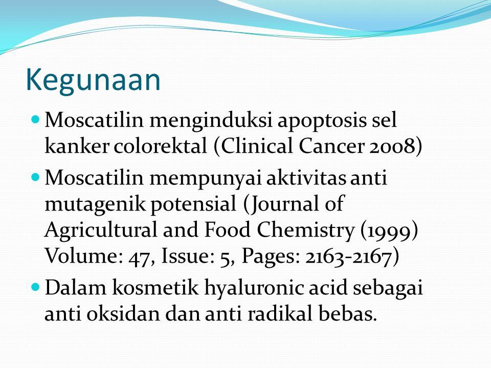 Kegunaan Moscatilin menginduksi apoptosis sel kanker colorektal (Clinical Cancer 2008) Moscatilin mempunyai aktivitas anti mutagenik potensial (Journa