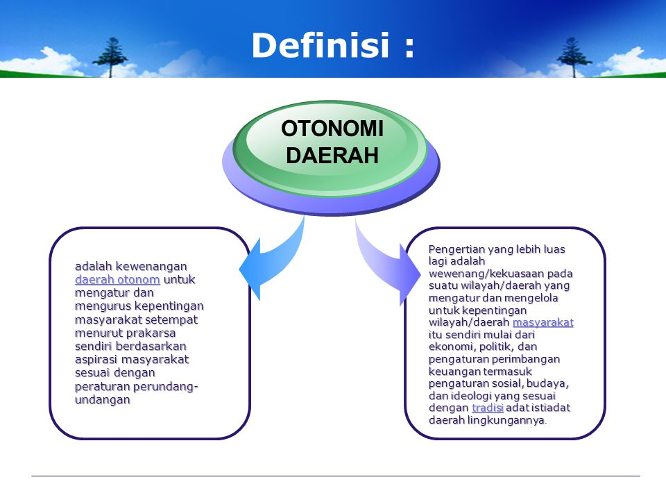 Latar Belakang Lahirnya Otonomi Daerah  Otonomi daerah yang dijalankan selama 10 tahun ini semata-mata hanya dipahami sebagai perpindahan kewajiban p