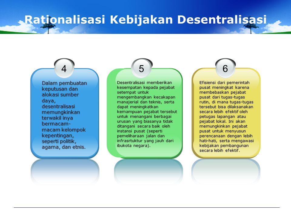 Rationalisasi Kebijakan Desentralisasi 1 Memungkinkan penyusun an rencana serta program pembangunan yang sesuai dengan kebutuhan wilayah dan kelompok