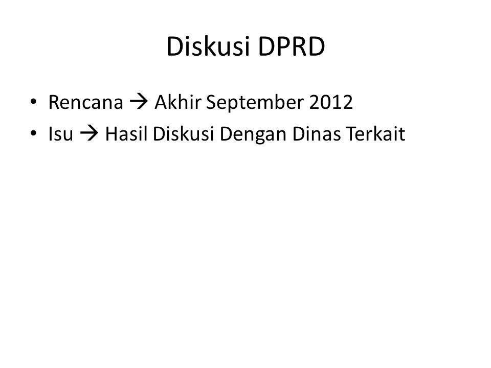 Diskusi DPRD Rencana  Akhir September 2012 Isu  Hasil Diskusi Dengan Dinas Terkait