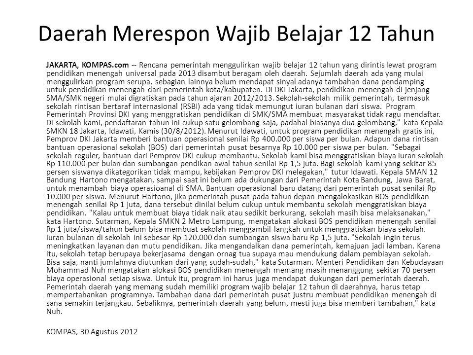 Daerah Merespon Wajib Belajar 12 Tahun JAKARTA, KOMPAS.com -- Rencana pemerintah menggulirkan wajib belajar 12 tahun yang dirintis lewat program pendidikan menengah universal pada 2013 disambut beragam oleh daerah.