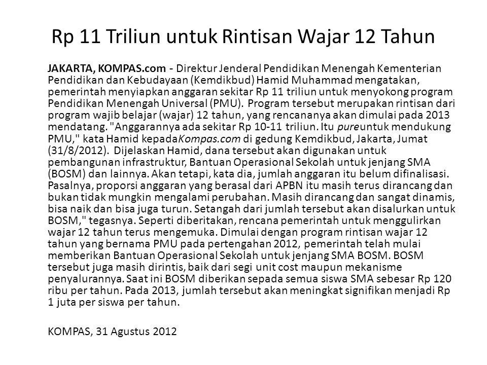 Rp 11 Triliun untuk Rintisan Wajar 12 Tahun JAKARTA, KOMPAS.com - Direktur Jenderal Pendidikan Menengah Kementerian Pendidikan dan Kebudayaan (Kemdikbud) Hamid Muhammad mengatakan, pemerintah menyiapkan anggaran sekitar Rp 11 triliun untuk menyokong program Pendidikan Menengah Universal (PMU).